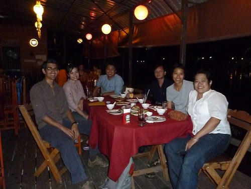 Taken out for dinner along the river by the Joko team after a late workshop