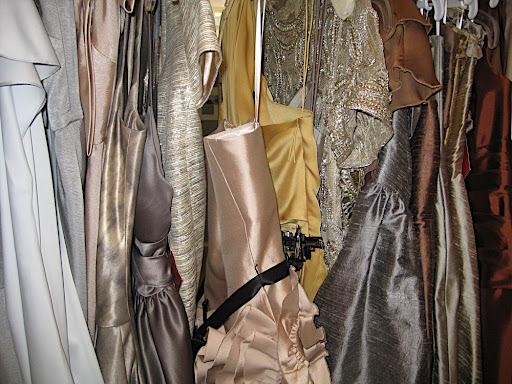 Sherri found all of these shimmery stunners for us to work with for our bridesmaid dress shot. One of my faves is the gold one in the middle from Marchesa.