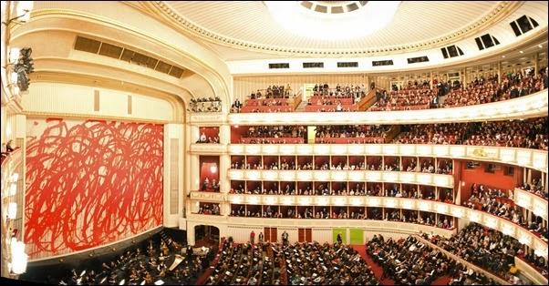 The Vienna State Opera (Wiener Staatsoper) interior. Vienna, Austria, Western Europe.