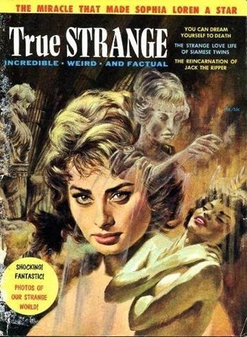 True Strange, February 1958.  Cover art by Thomas Beecham-8x6