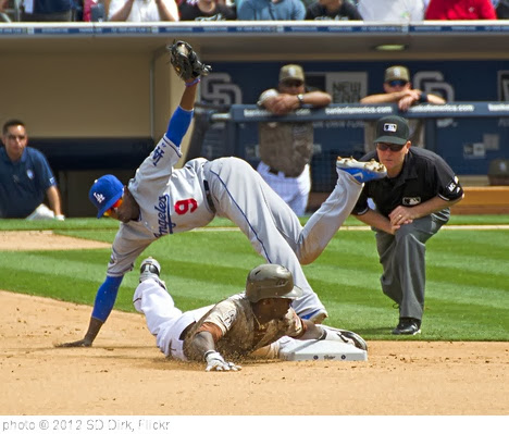 'Cameron Maybin slides under the tag of Dee Gordon' photo (c) 2012, SD Dirk - license: http://creativecommons.org/licenses/by/2.0/