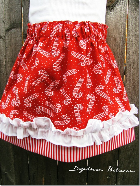 girls holiday candy cane ruffle skirt