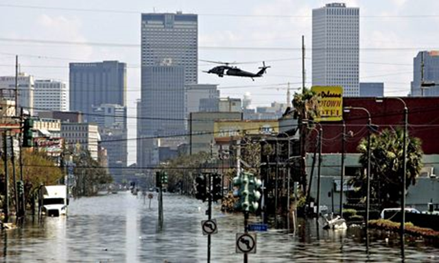 The aftermath of Hurricane Katrina in New Orleans in 2005. 'Ultimately, insurance exists to pick up the pieces and pay the claims when the likes of a Hurricane Katrina or a Superstorm Sandy strike.' Photo: Larry W Smith / EPA