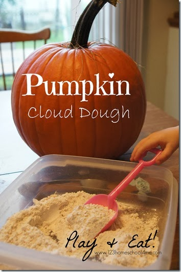 Pumpkin Cloud Dough - I love this play recipe because it is great for sensory play and then to eat! (Preschool, Kindergarten, 1st grade)