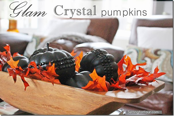Glam Crystal Pumpkin DIY Tutorial Setting for Four