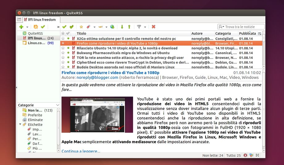 QuiteRSS in Ubuntu