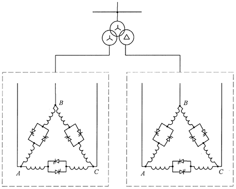 Arrangement of 12-pulse TCR configuration with double-secondary transformer