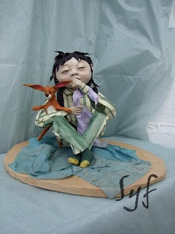 muñeca papel mache