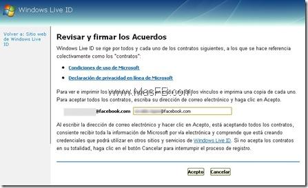 Crear Credenciales MSN para Facebook.com