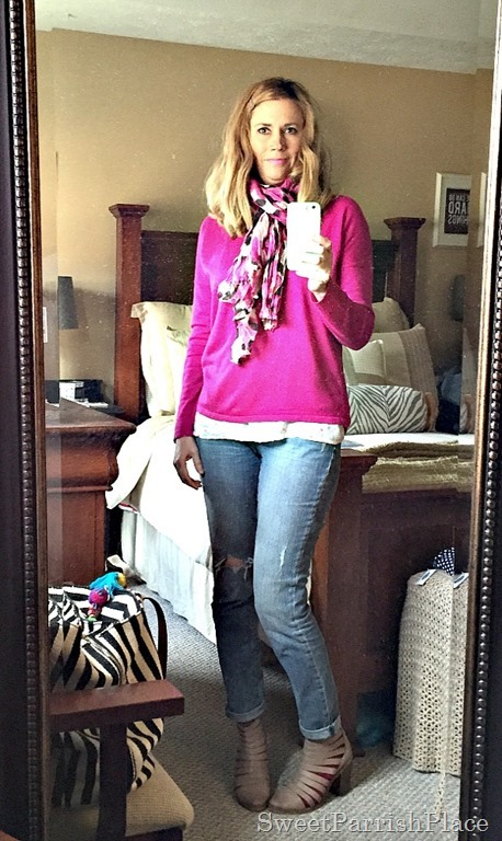 Distressed skinny jeans, fuschia sweater, caged booties