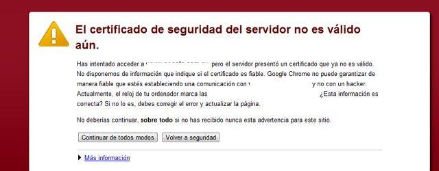 certificado de seguridad del servidor no es válido