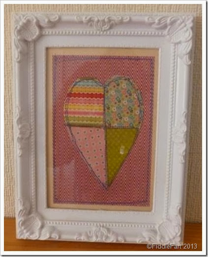 framed machine sewn paper heart