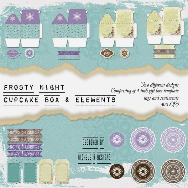 Frosty Night Cupcake Box Front Sheet