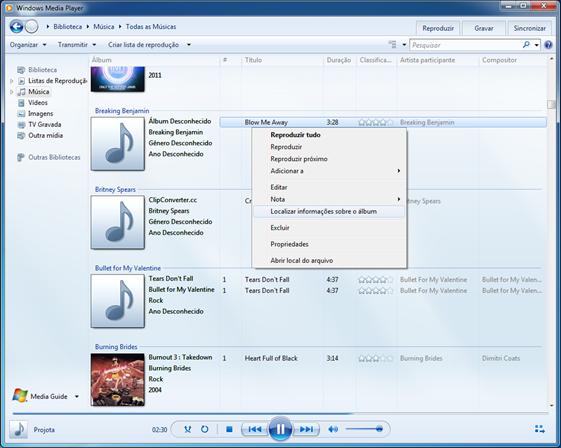 Clique na biblioteca Música, depois clique com o botão direito na música que você deseja atualizar as informações e selecione Localizar informações sobre o álbum