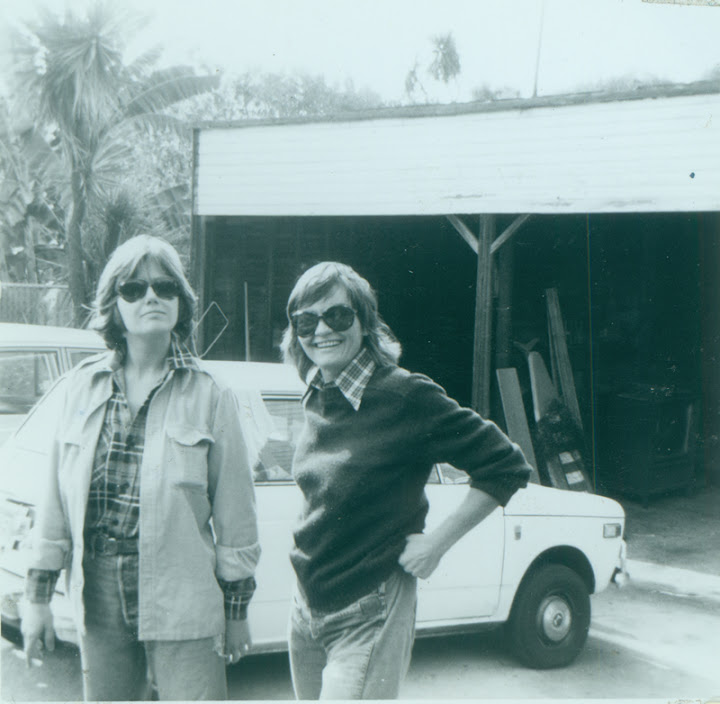 Nicki Toomey and Brenda Weathers on driveway at Morton Avenue. Circa October 1975.