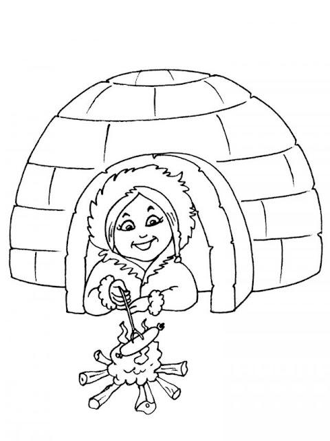 Pintar dibujos de esquimales - Coloriage igloo ...