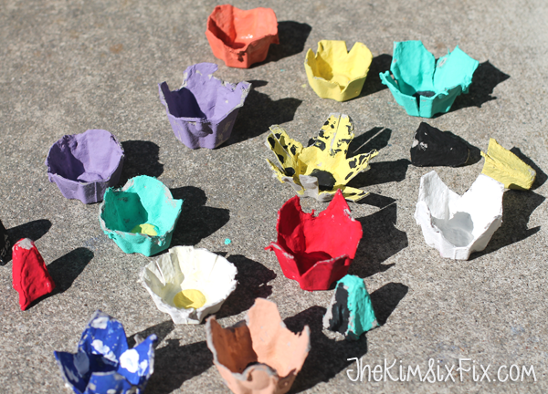 Painted egg carton flowers