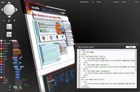 Vista de la web en 3D