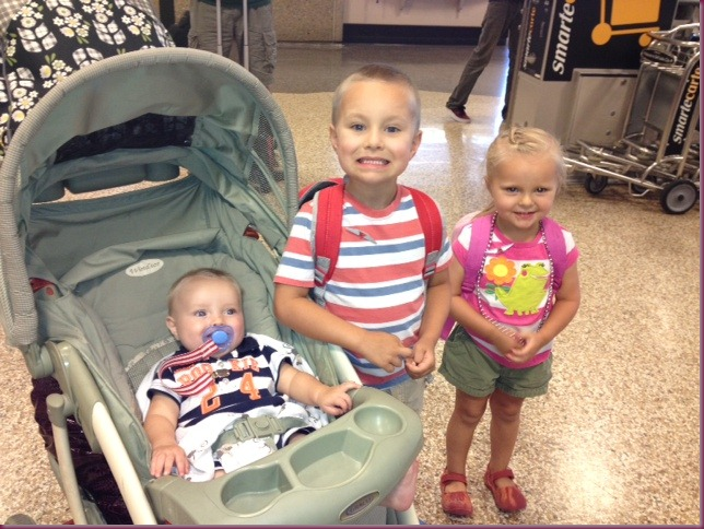 Curtis, Connor and Chloe at airport