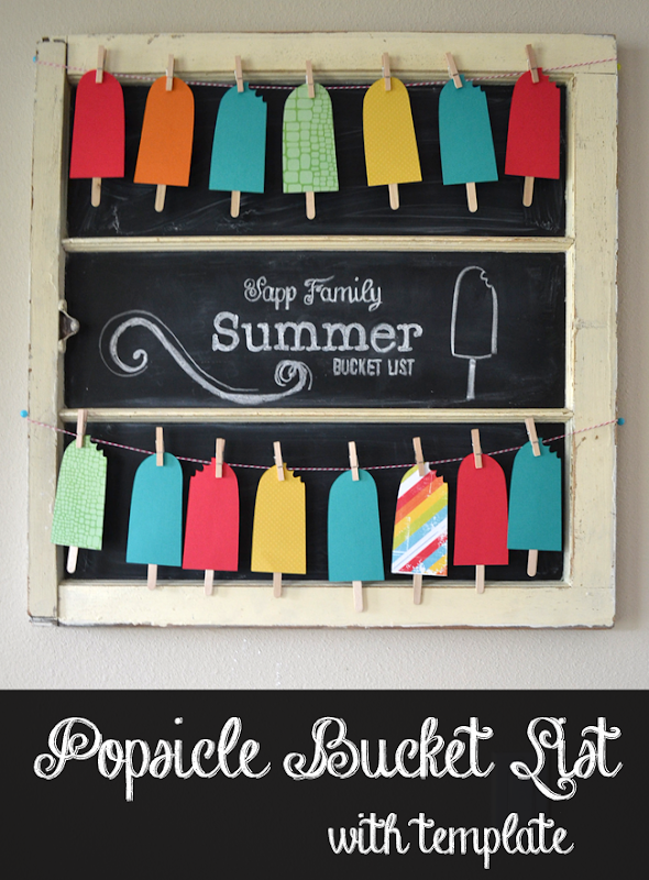 Popsicle Summer Bucket List Banner - free cut templates