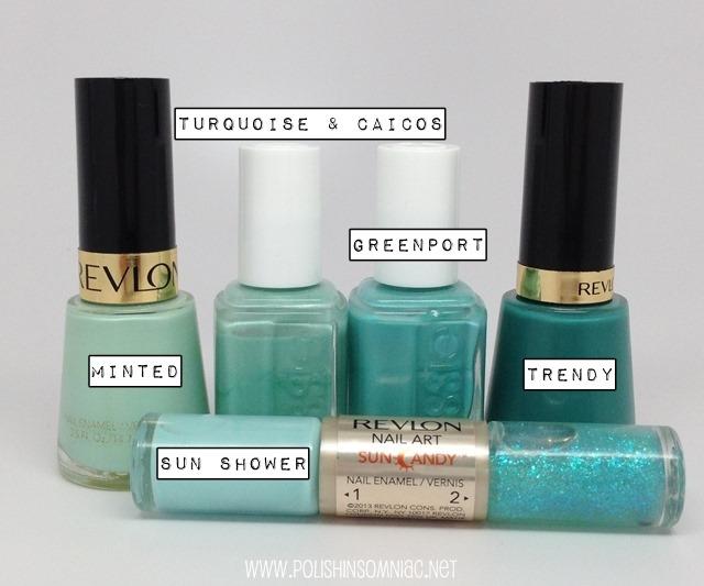 Look Two - Revlon Minted, Trendy and Sun Shower, Essie Turquoise and Caicos and Greenport #walgreensbeauty #shop #cbias