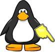 Пингвин указывает на виджет подписки