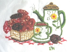 crewel  coffee pot and cup