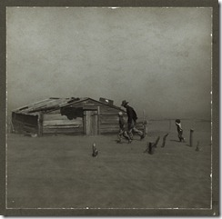 Farmer and sons in dust storm, Oklahoma, 1936