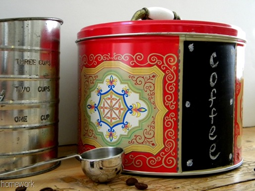 Homework a creative blog upcycling cookie tin to coffee bin for Can you recycle cookie tins