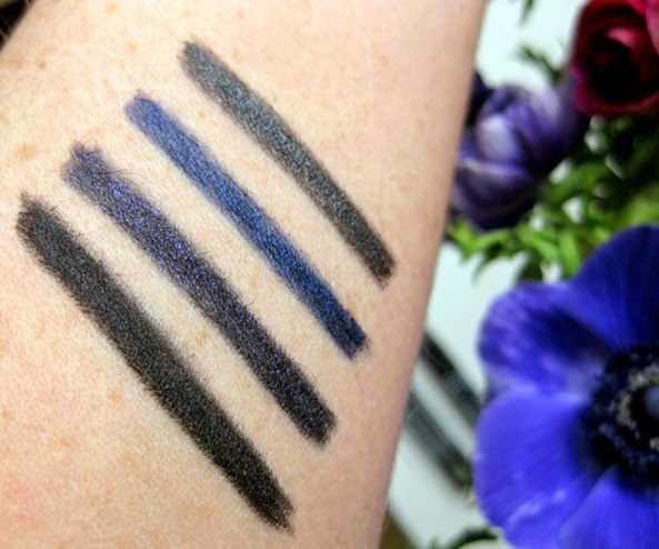 Bobbi-Brown-Perfectly-Defined-Gel-Eyeliner-PitchBlack-Sapphire-Violet-Night-Steel-Grey-swatches-swatched