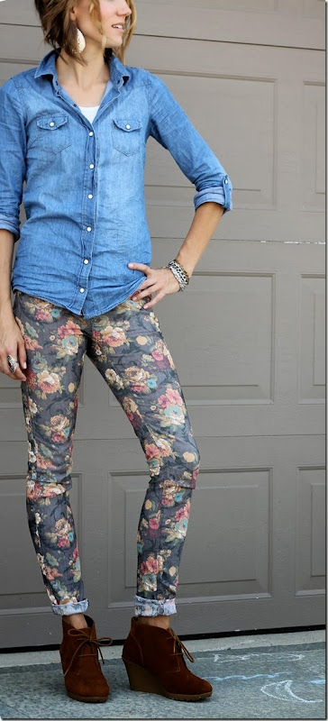 Chambray + Floral denim + Ankle Boots