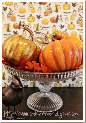 Cake Stand Pumpkins Centrepiece