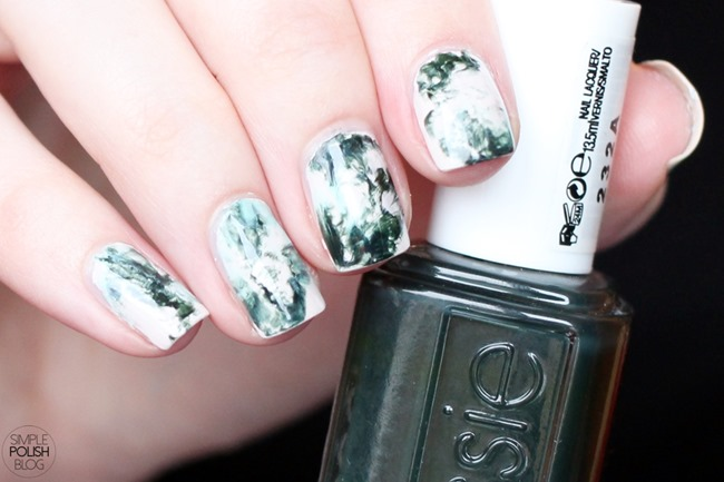 Dry-Marble-Nails-Saran-Wrap-Dark-Green-5