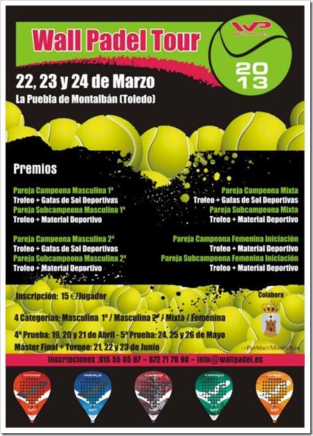 Wall Padel Tour en La Puebla de Montalbán (Toledo), 22, 23 y 24 de marzo.