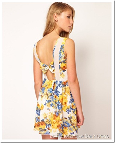 Love Floral Bow Back Dress