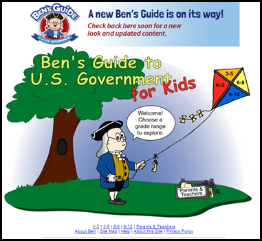 Ben's Guide – This is a US government based site with lots of information about the services provided by the government, processes used to create laws and elect representatives.  The site is conveniently broken down by grade levels to make differentiation easier.