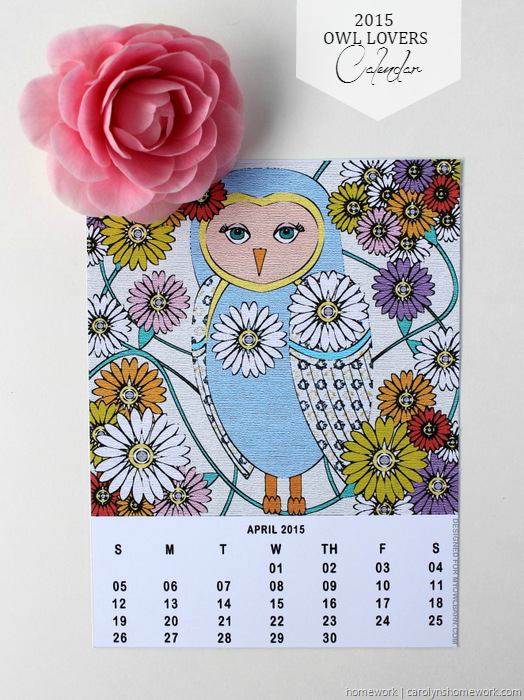 2015 Owl Lovers Calendar via homework (3)