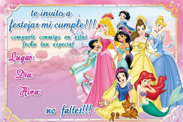 invitaciones princesas, Dora, Minnie y Fresita, cumpleaños imprimir