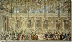 Charles-Nicolas Cochin Le Jeune, Bal masqué ou bal des Ifs donné pour le mariage de Louis Dauphin de France avec Marie-Thérèse d'Espagne dans la Galerie des Glaces, 1745
