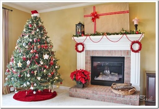 Decorating a Christmas Mantel Around Your TV , Sand and Sisal