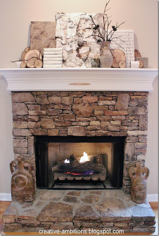 Natural Rustic Winter Mantel Frnt