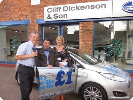 Cliff Dickenson & Son's Chris Winward, Super Draw winner Terry Gamble and St Luke's Claire Langston