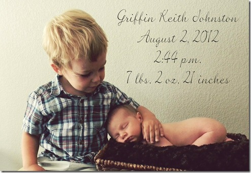 Kayden and Griffin birth announcement 4x6