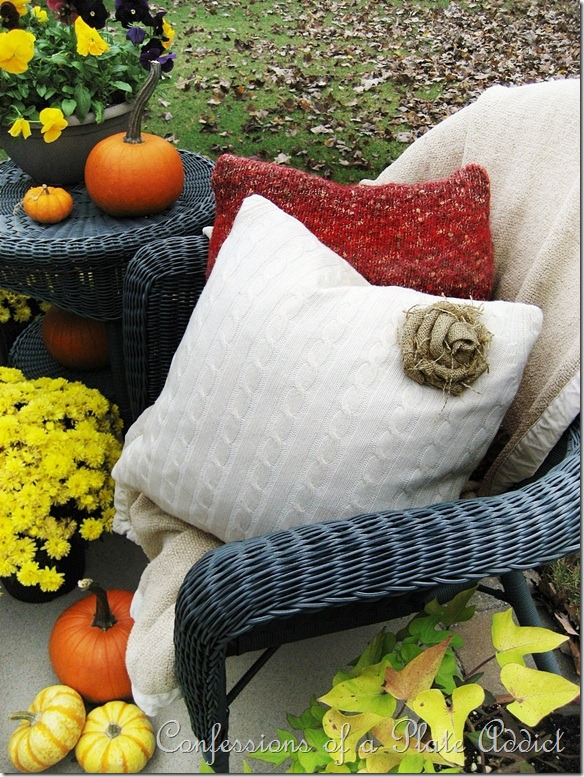 Confessions of a Plate Addict's Sweater Pillows and Burlap Rose Tutorial