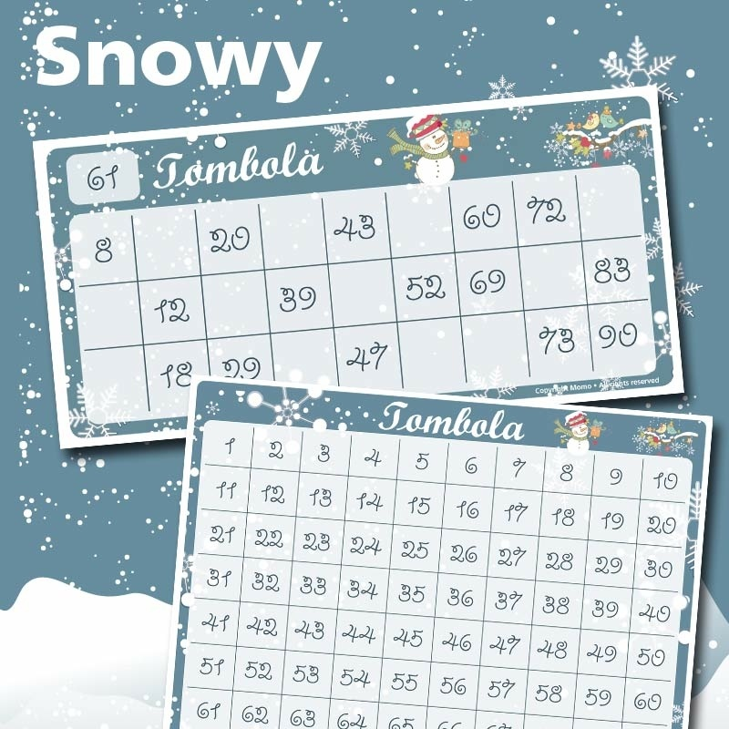 Cartelle tombola Snowy