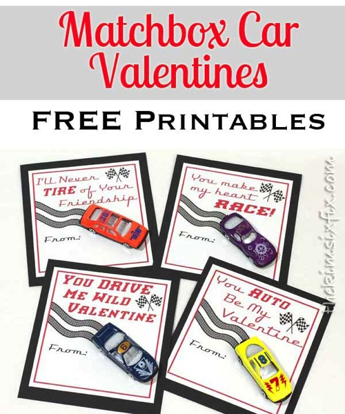 Matchbox Car Valentines Printables
