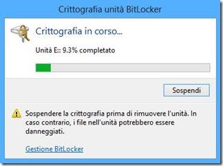BitLocker Crittografia in corso