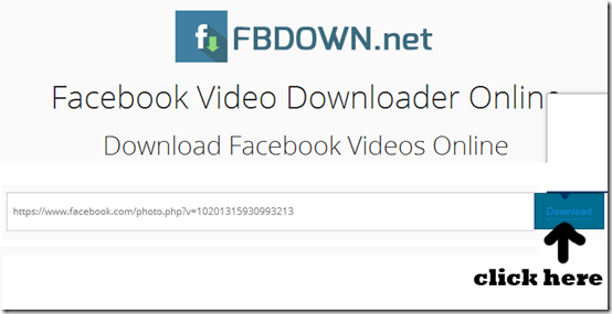 click fbdown download button