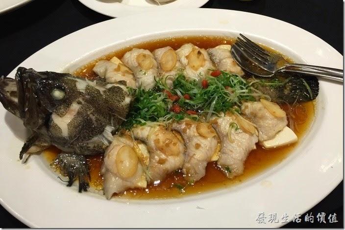 台北-維多麗亞酒店。人篸麒麟蒸石斑。這石斑魚已經事先處理成一小片的魚片,每塊魚片下面都墊了一片嫩豆腐,吃的時候直接夾起來吃就可以了,不過也少了吃魚肚、魚背、魚尾各取所許的樂趣。