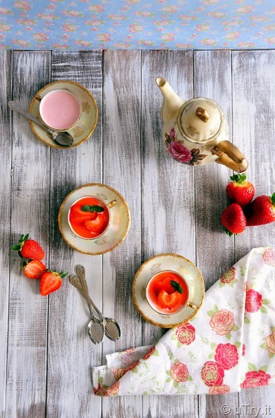 Strawberry Panna Cotta with Macerated Strawberry